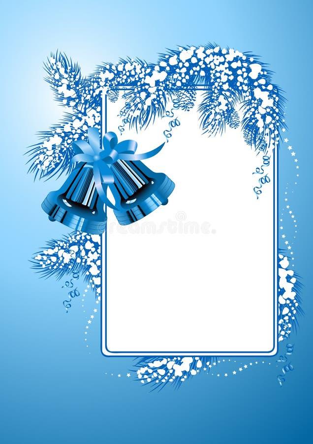 för julfärg för klockor blå ram royaltyfri illustrationer