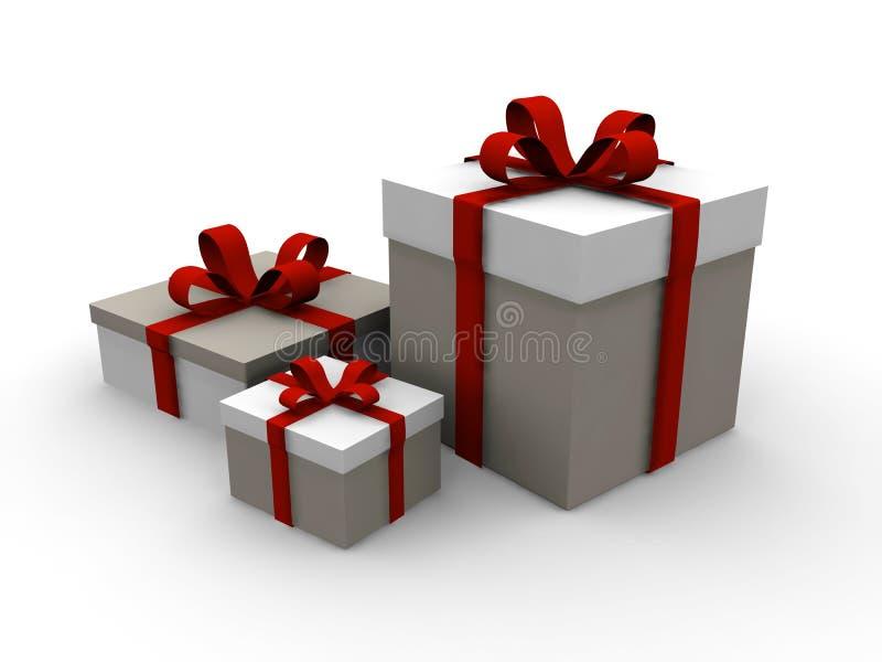 för julgåva för ask 3d present royaltyfri illustrationer