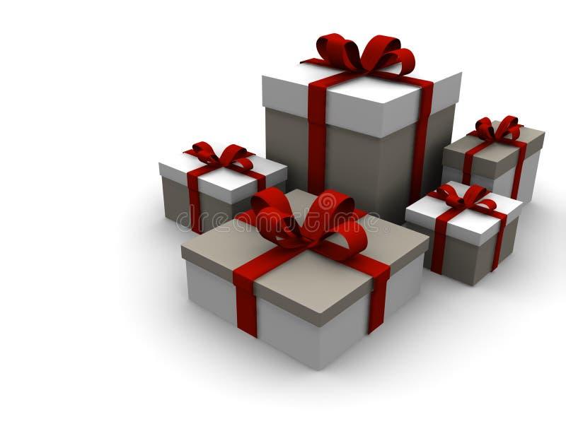 för julgåva för ask 3d present vektor illustrationer