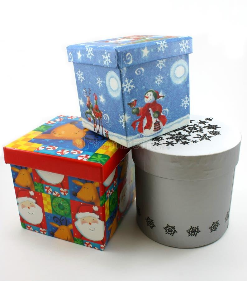 för julgåva för blåa askar röd white arkivfoto
