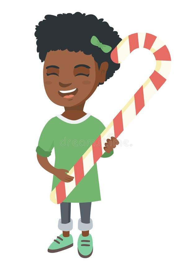 För julgodis för afrikansk liten flicka hållande rotting stock illustrationer