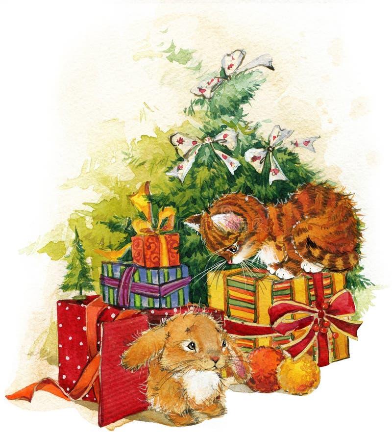 För julgran- och kattungevattenfärg för nytt år bakgrund royaltyfri illustrationer