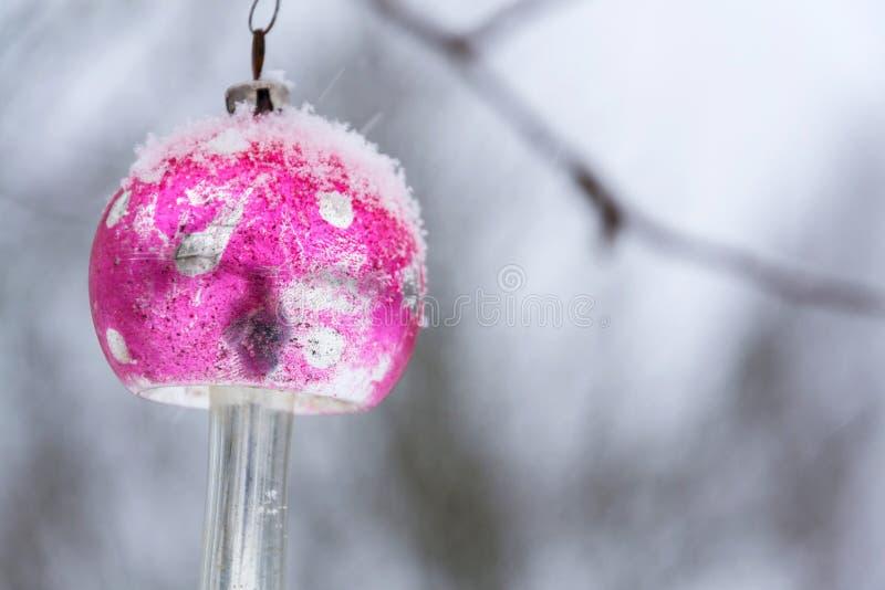 För julgranexponeringsglas för tappning landskap för vinter för det fria för flugsvamp för giftsvamp för retro garnering snöig rö arkivfoton