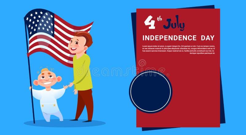 För Juli för ferie för självständighetsdagen för flagga för barnhållFörenta staterna 4 kort för hälsning baner vektor illustrationer