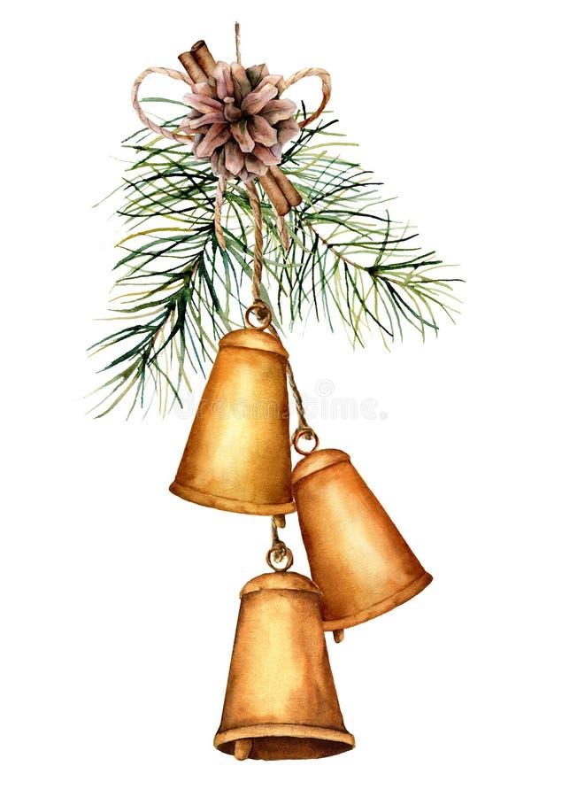 För julklockor för vattenfärg guld- girland med feriedekoren Handen målade traditionella klockor med pineconen, kanel royaltyfri illustrationer
