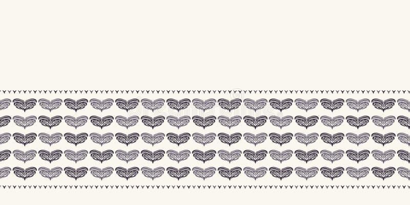 För jullövverk för hand utdragen modell för gräns för hjärta Stiliserad förälskelsemotivguld på grön bakgrund Band för vinterbröl royaltyfri illustrationer