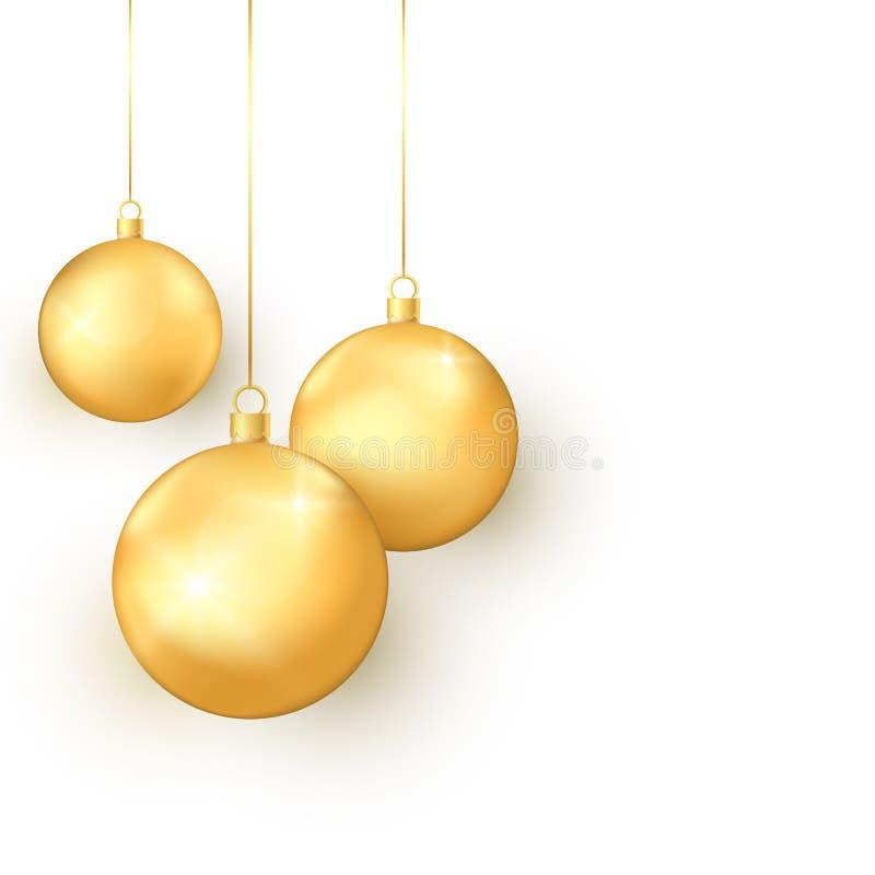 För julleksaker för elegans guld- uppsättning Färgrik feriegarneringbeståndsdel Traditionellt symbol av det nya året och jul vekt vektor illustrationer