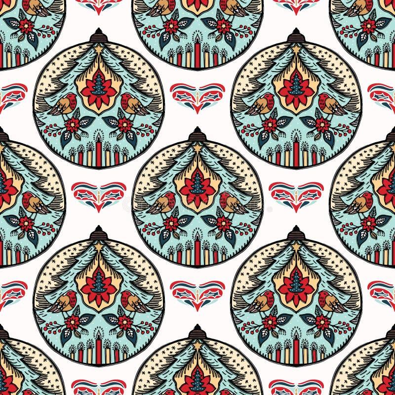 För julrödhake för hand utdragen modell för prydnad för struntsak för fågel Isolerad träddecobakgrund Papper för inpackning för v royaltyfri illustrationer