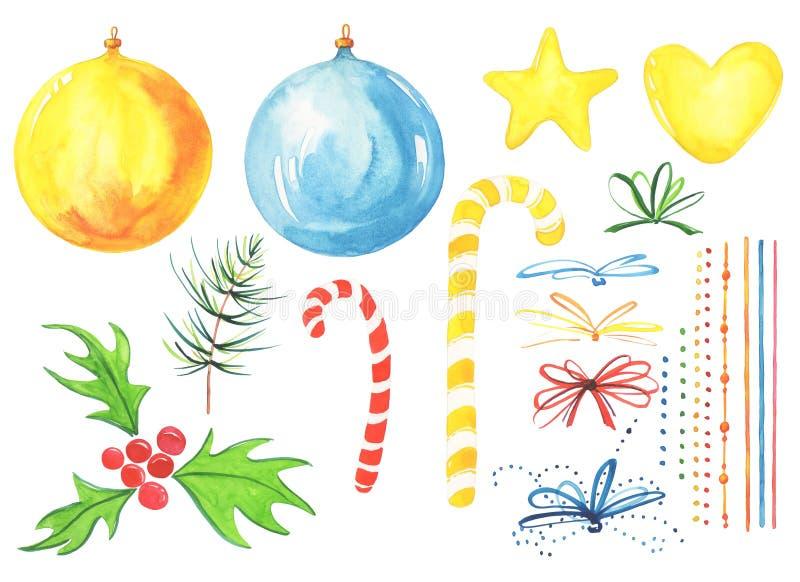 för julsammansättning för bauble blått exponeringsglas högt specificerad vattenfärg il för nytt år 21 royaltyfri illustrationer