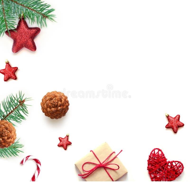 för julsammansättning för bauble blått exponeringsglas Jul gåva, godisrotting och branche för granträd Bästa sikt, lekmanna- läge royaltyfri fotografi