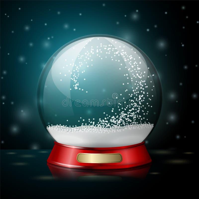 För julsnö för vektor realistiskt jordklot stock illustrationer