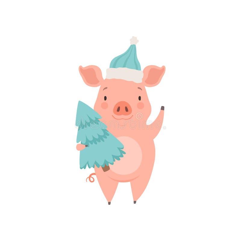 För jultomtenhatt för gulligt litet svin bärande anseende med granträdet, rolig illustration för vektor för spädgristecknad filmt royaltyfri illustrationer