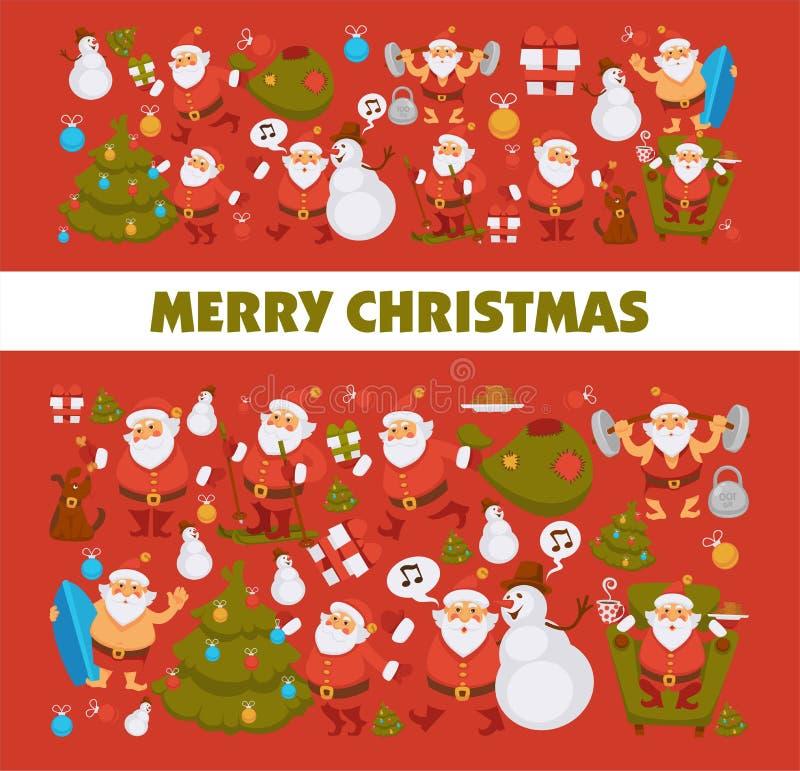 För jultomtentecknad film för glad jul som snögubbe och hund firar ferieskidåkning och surfar vektorhälsningkortet stock illustrationer