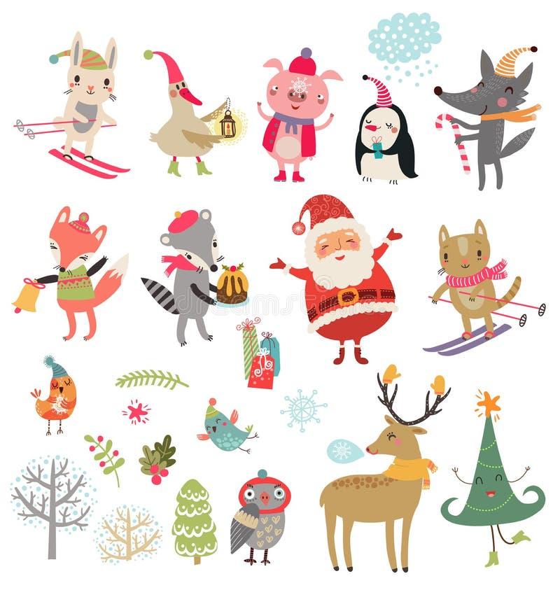 För julvinter för nytt år uppsättning för vektor för samling av gulliga tecken royaltyfri illustrationer