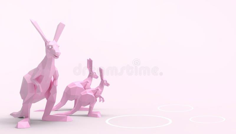 För känguru djura för familj grupper lowpoly på purpurfärgad bakgrund för begreppsmodern konstdeg vektor illustrationer