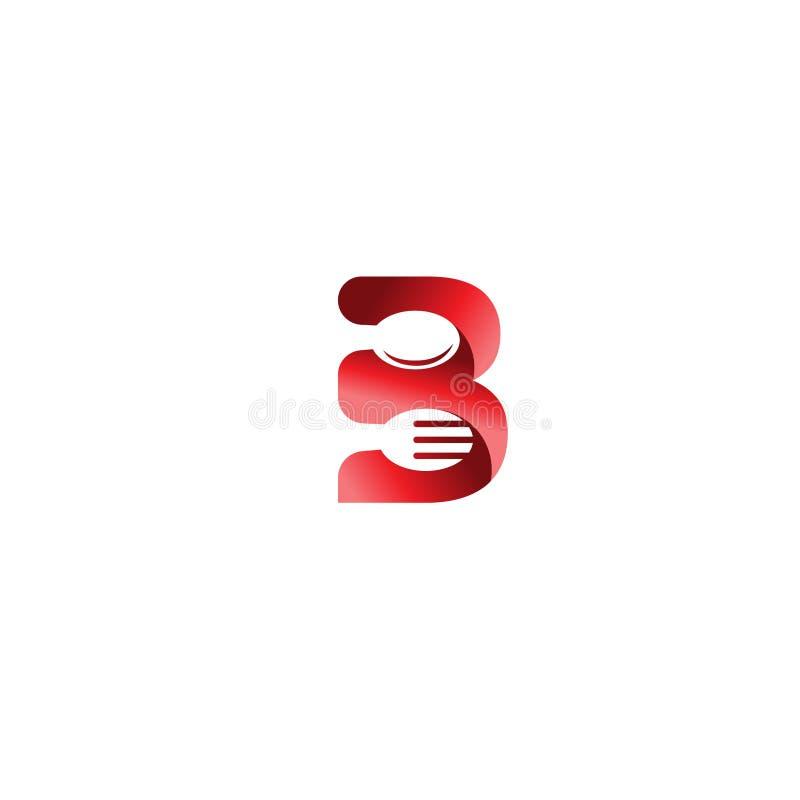 För köklogo för initial bokstav B beståndsdelar för mall för design för symbol med skeden och gaffeln Vektorlogoillustration Graf royaltyfri illustrationer