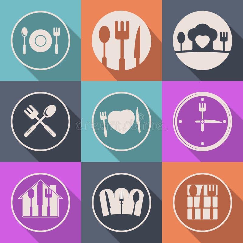 För köksymbol för vektor idérik logo för mat stock illustrationer