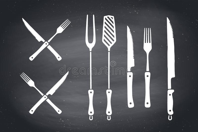 För kött uppsättning för bitande knivar och gaffel E royaltyfri illustrationer