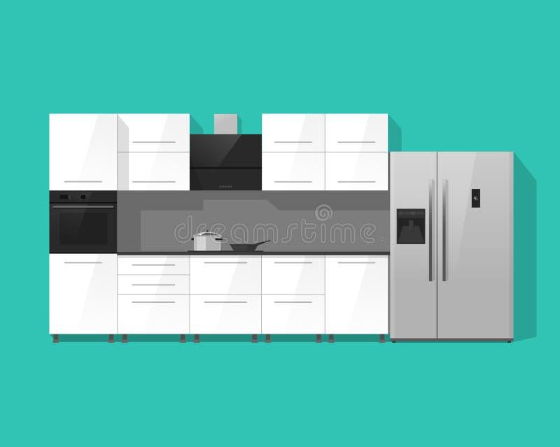 För kabinettmöblemang för kök inre illustration för vektor royaltyfri illustrationer