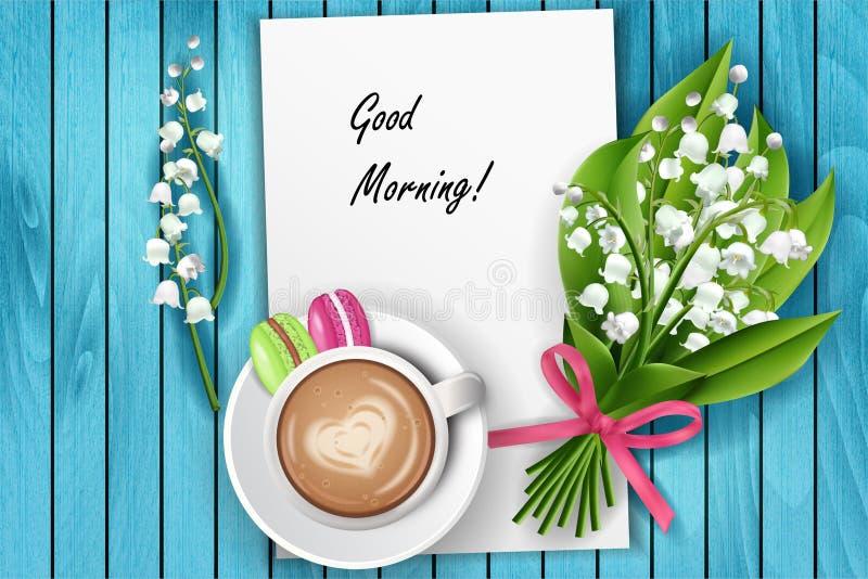 För kaffetabell för bra morgon bästa sikt vektor illustrationer