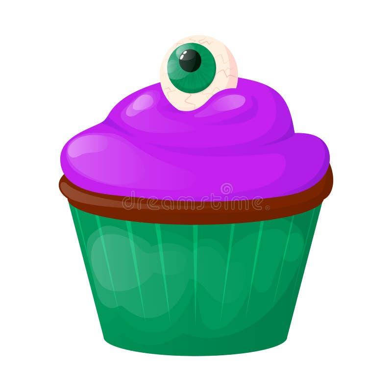 För kakafödelsedag för muffin söt illustration för vektor för parti för bageri för mat Läcker muffin för chokladpralinefterrätt royaltyfri illustrationer