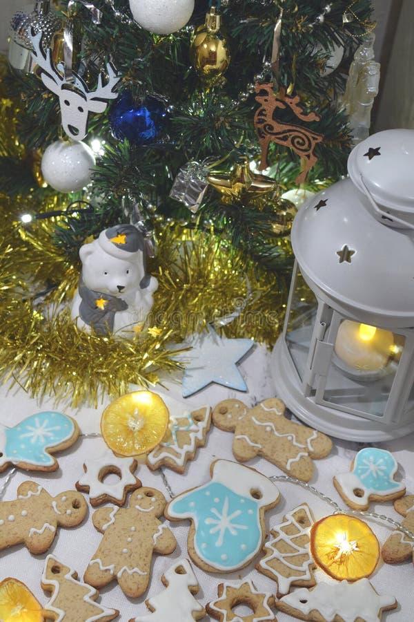För kakaGarland Dry för jul ljust rödbrun julgran apelsin arkivfoto