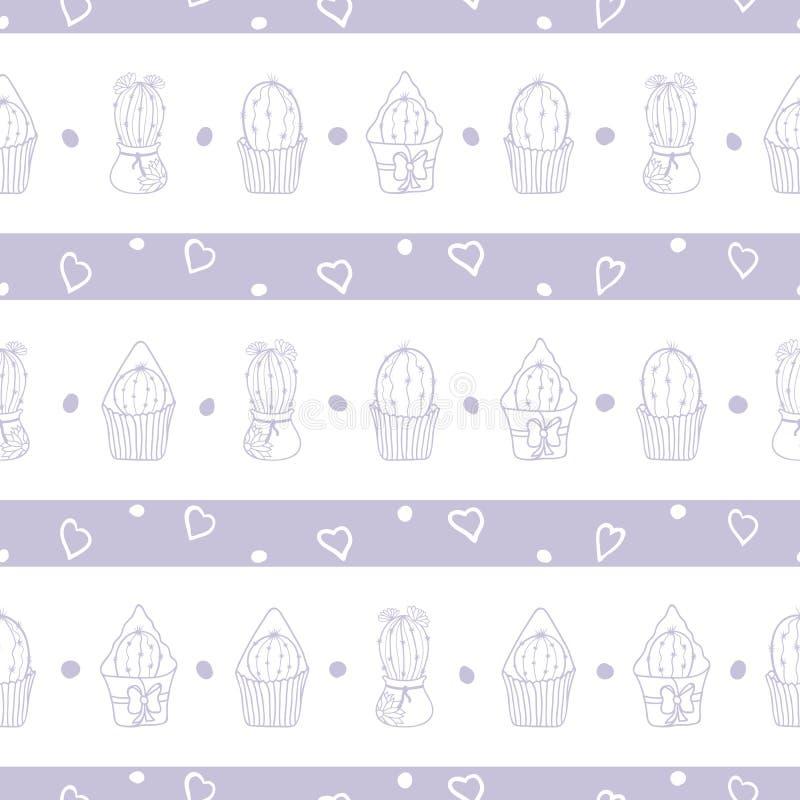 För kaktusrepetition för vektor pastellfärgad purpurfärgad randig modell royaltyfri illustrationer