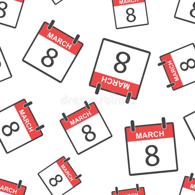 För kalendersida för mars 8 bakgrund för modell sömlös Affärslägenhet vektor illustrationer