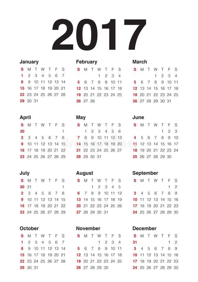 För kalendervektor för år 2017 mall för design stock illustrationer