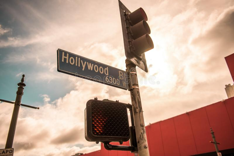 för Kalifornien för 7000 blvd för hollywood drev västra gata USA för tecken rodeo fotografering för bildbyråer