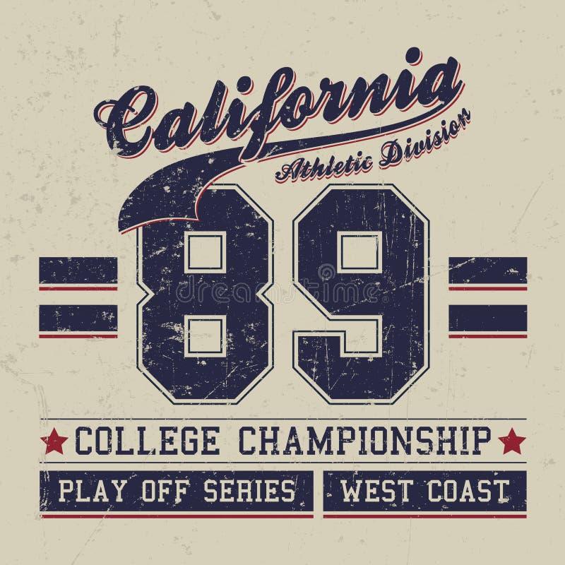 För Kalifornien för tappningsportkläder design T-tröja, friidrotttypografi stock illustrationer