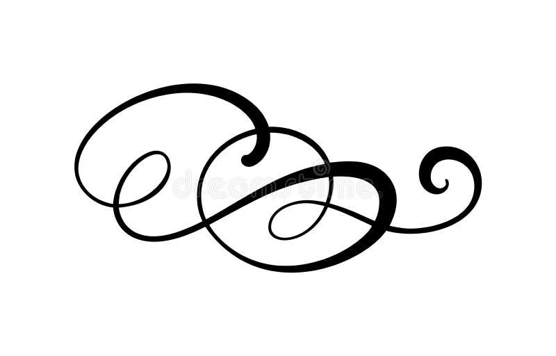 För kalligrafibeståndsdel för vektor blom- gräns för krusidull, avdelare för sidagarneringbeståndsdelar och virvel för ramdesigni stock illustrationer