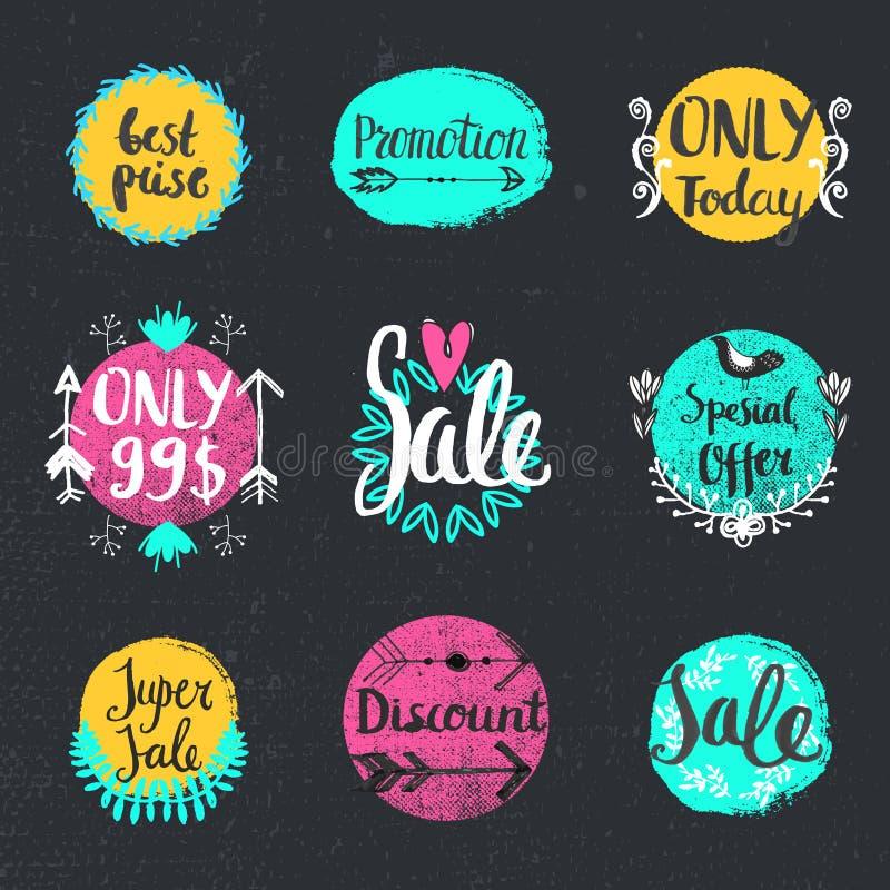 För kalligrafiförsäljning för vektor specialt erbjudande för handskriven uppsättning, endast i dag, bästa pris, befordran, rabatt vektor illustrationer