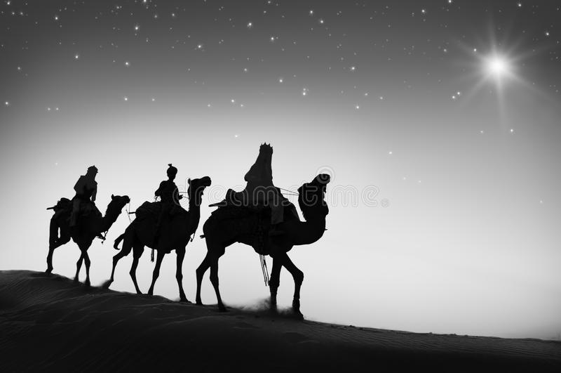 För kamellopp för tre kloka män Betlehem för öken begrepp royaltyfri fotografi
