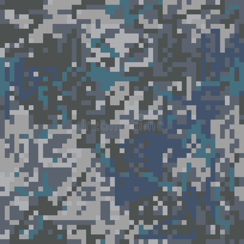 För kamouflageblått för sömlös modell skyddande PIXEL för färgning royaltyfri illustrationer
