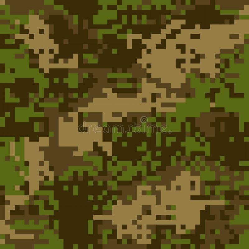 För kamouflagebrunt för sömlös modell skyddande PIXEL för färgning vektor illustrationer