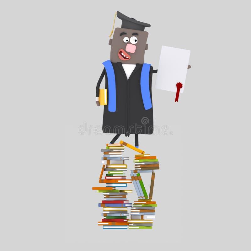 För kandidat pojke tillbaka med diplompapper på ett berg av böcker vektor illustrationer
