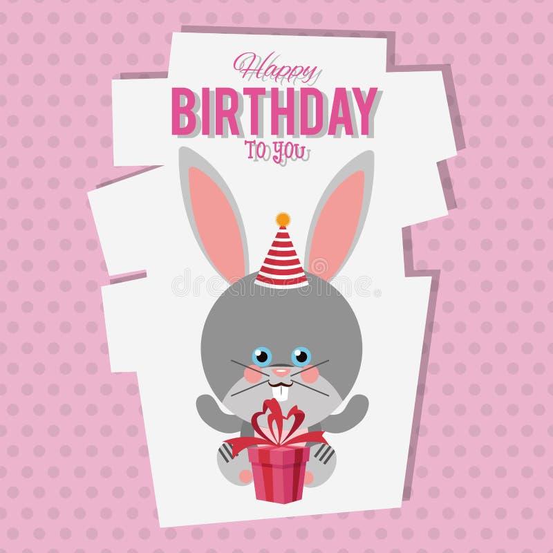 För kanintecknad film för lycklig födelsedag kort royaltyfri illustrationer