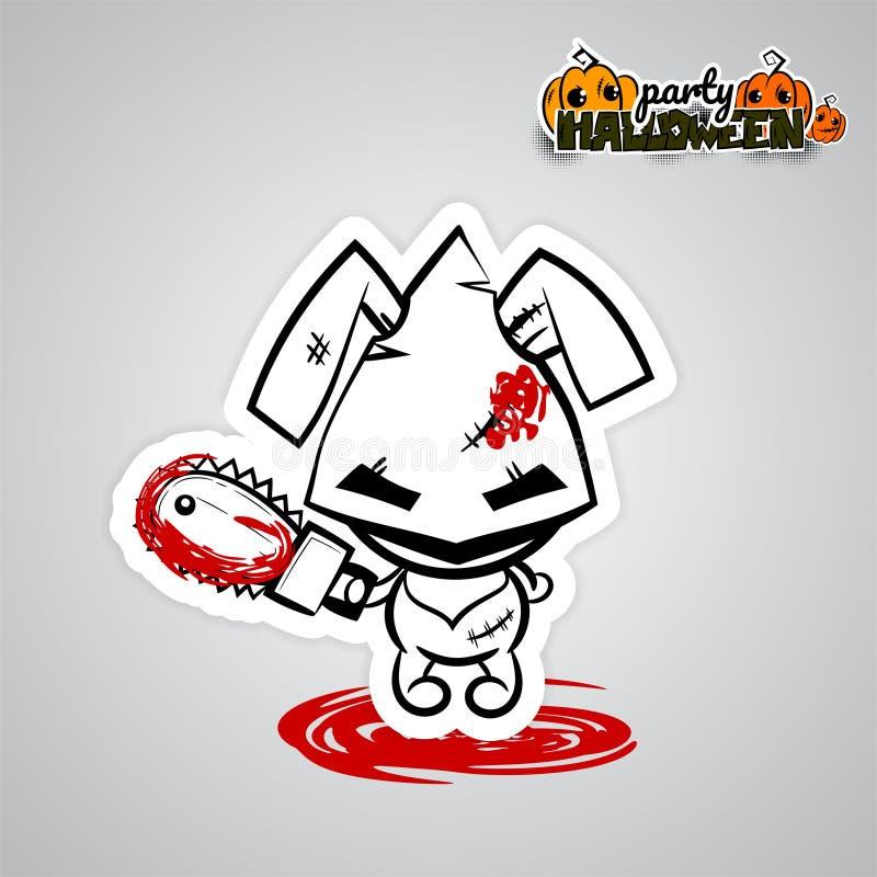 För kaninvoodoo för allhelgonaafton ond komiker för konst för pop för docka vektor illustrationer