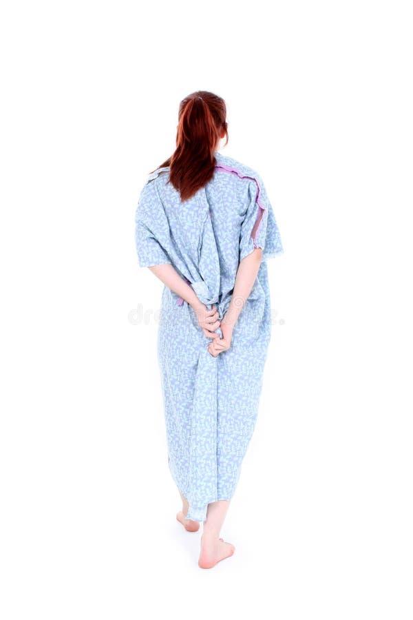 för kappaholding för bak stängd kvinna för sjukhus arkivfoto