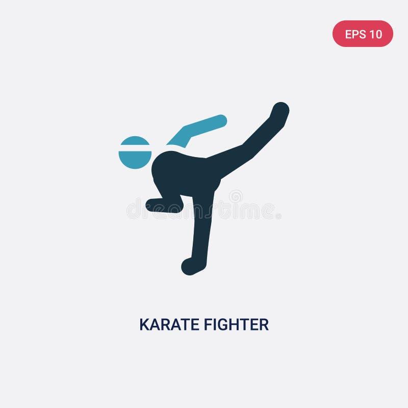 F?r karatek?mpe f?r tv? f?rg symbol f?r vektor fr?n sportbegrepp det isolerade bl?a symbolet f?r tecknet f?r karatek?mpevektorn k vektor illustrationer