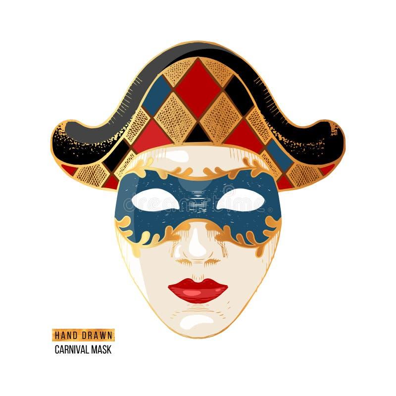 För karnevalharlekin för hand utdragen Venetian maskering vektor illustrationer
