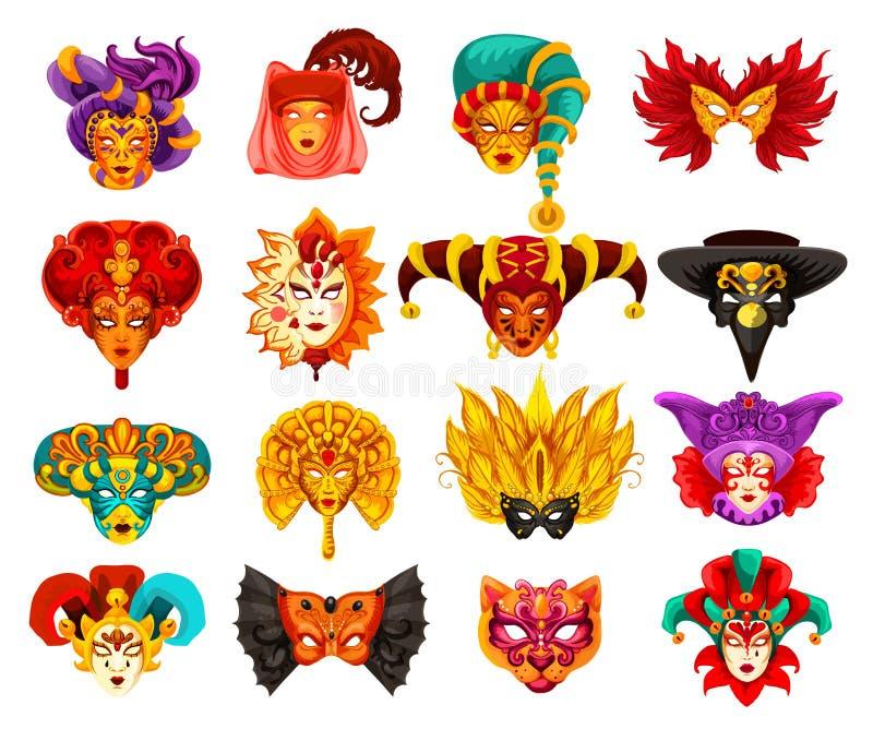 För karnevalmaskerad för vektor Venetian maskeringar stock illustrationer