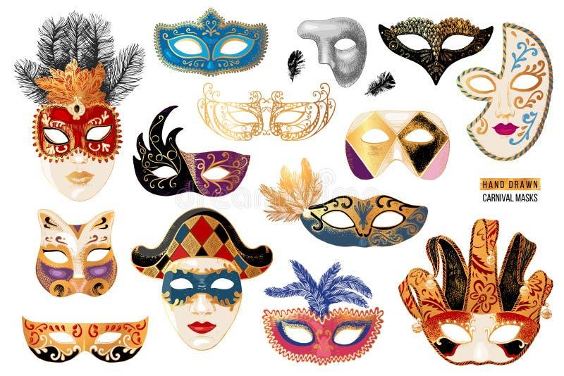 För karnevalmaskeringar för hand utdragen venetian samling vektor illustrationer