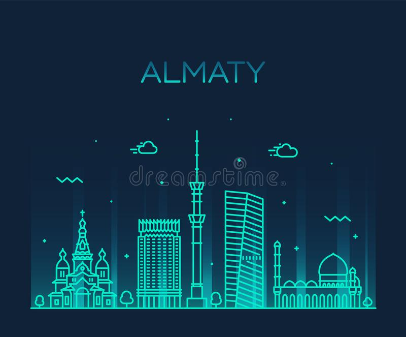 För Kasakhstan för Almaty horisontstad linjär stil vektor vektor illustrationer