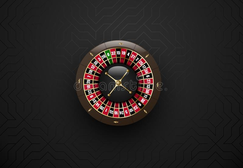 För kasinodobbleri för vektor svart hjul för roulett Mörk siden- geometrisk bakgrund Online-kasinorengöringsdukbaner, logo eller  stock illustrationer