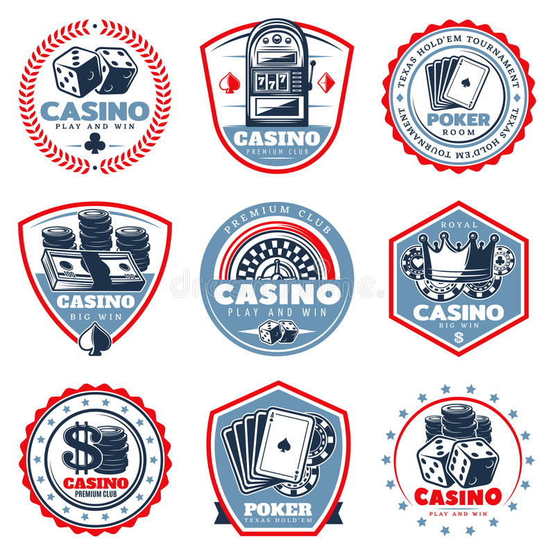 För kasinoetiketter för tappning kulör uppsättning royaltyfri illustrationer