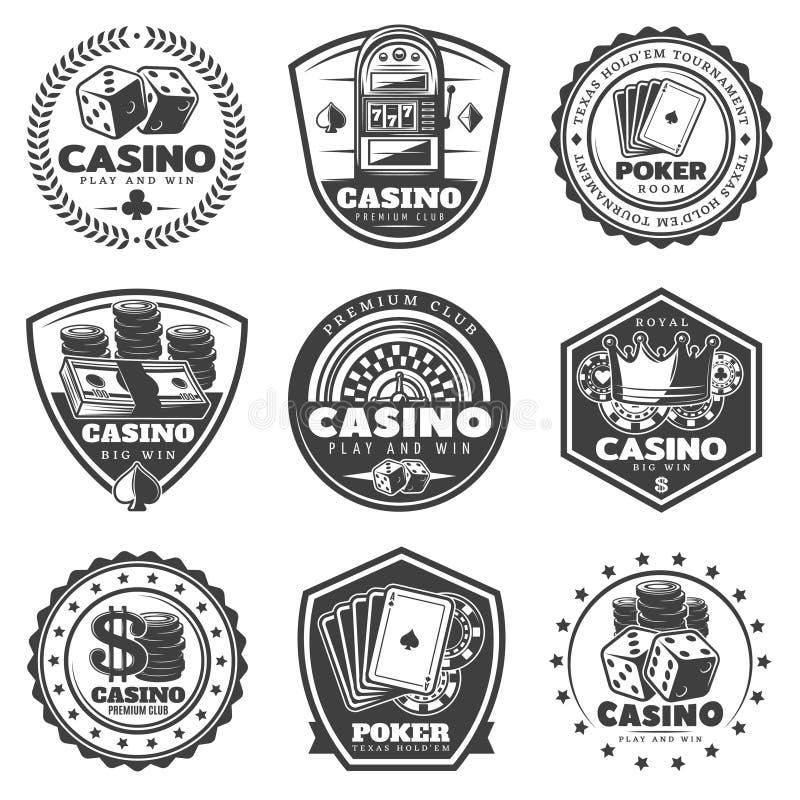 För kasinoetiketter för tappning monokrom uppsättning royaltyfri illustrationer