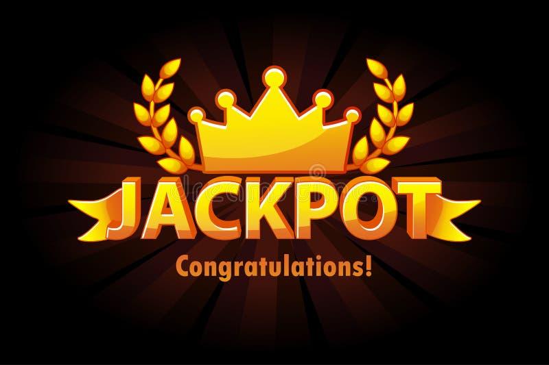 För kasinolotto för jackpott guld- etikett med kronan på svart bakgrund Utmärkelser för kasinojackpottvinnare med guld- text och  stock illustrationer