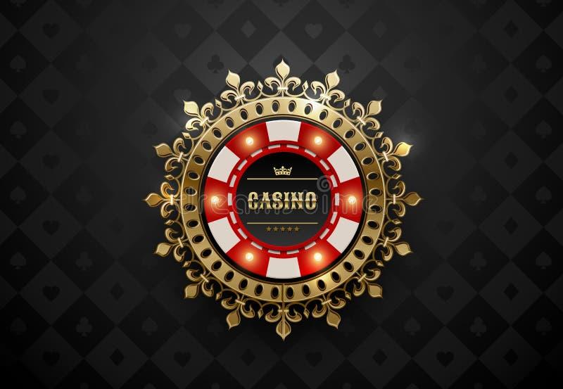 För kasinopoker för vektor röd vit chip med lysande ljusa beståndsdelar och den guld- kronakransramen Svarta siden- geometriska k royaltyfri illustrationer